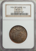 1936 50C Delaware MS67 NGC. NGC Census: (103/5). PCGS Population: (151/5). MS67. Mintage 20,993. ...(PCGS# 9301)