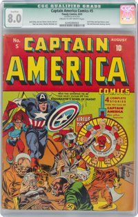 Captain America Comics #5 (Timely, 1941) CGC Qualified VF 8.0 Cream to off-white pages