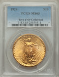 1926 $20 MS65 PCGS. Ex: Rive d'Or Collection. The design elements are boldly rendered on this Gem example, complementing...