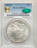 1883-S $1 MS62+ PCGS. CAC. PCGS Population: (1008/1437). NGC Census: (645/696). CDN: $1,150 Whsle. Bid for NGC/PCGS MS62...