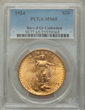 1924 $20 MS65 PCGS. Ex: Rive d'Or Collection. Famously the most plentiful date in the series, the 1924 double eagle is w...