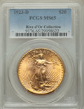 1923-D $20 MS65 PCGS. Ex: Rive d'Or Collection. The 1923-D is among the most eye-appealing issues in the Saint-Gaudens s...
