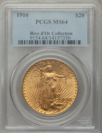 1910 $20 MS64 PCGS. Ex: Rive d'Or Collection. A sharp, Choice Mint State example of this Philadelphia issue, showing fro...