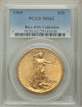 1909 $20 MS62 PCGS. Ex: Rive d'Or Collection. A satiny, well-struck example of this early Philadelphia issue, showing br...