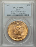 1907 $20 MS63 PCGS. Ex: Rive d'Or Collection. The first-year Arabic date Saint-Gaudens double eagle is a popular type co...