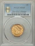 1907 $5 MS65 PCGS. Ex: Rive d'Or Collection. Frosty mint luster yields original wheat-gold color on this Gem late-series...