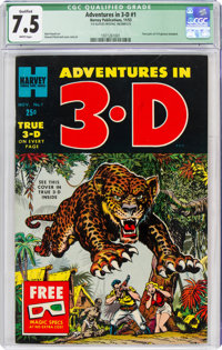 Adventures in 3-D #1 (Harvey, 1953) CGC Qualified VF- 7.5 White pages