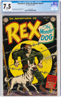 Adventures of Rex the Wonder Dog #5 (DC, 1952) CGC VF- 7.5 White pages