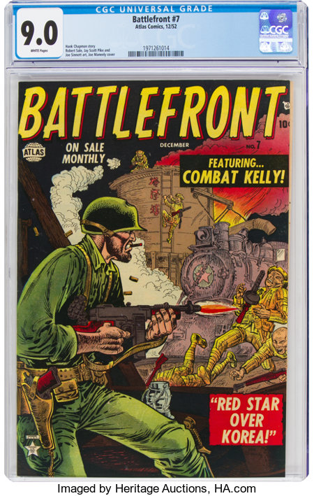 Battlefront #7 (Atlas, 1952) CGC VF/NM 9.0 White pages....