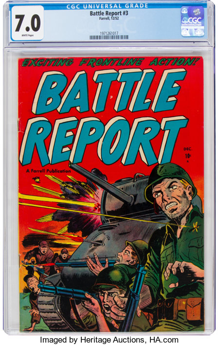 Battle Report #3 (Farrell, 1952) CGC FN/VF 7.0 White pages....