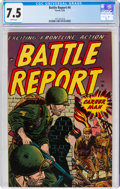 Golden Age (1938-1955):War, Battle Report #4 (Farrell, 1953) CGC VF- 7.5 White pages....