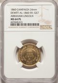 (1860) Abraham Lincoln Campaign Medal, Dewitt-AL-1860-59, MS64 Prooflike NGC. 24 mm, Gilt