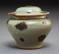 Ceramics & Porcelain, A Miniature Chinese Tobi Seiji-Decorated Longquan Celadon Jar and Cover, Yuan Dynasty. 2-7/8 x 3-1/4 inches (7.3...