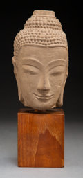 Carvings, A Thai Ayutthaya-Style Carved Sandstone Head of Buddha, 16th-17th century. 7-3/4 inches (19.7 cm). ...