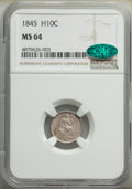 1845 H10C MS64 NGC. CAC. NGC Census: (43/35). PCGS Population: (51/41). CDN: $480 Whsle. Bid for NGC/PCGS MS64. Mintage...