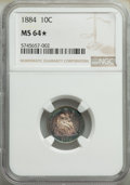 1884 10C MS64★ NGC. NGC Census: (97/125 and 0/7*). PCGS Population: (96/131 and 0/7*). CDN: $340 Whsle. Bid for NGC/PCGS...