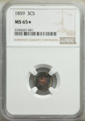 1859 3CS MS65 ★ NGC. NGC Census: (36/17). PCGS Population: (32/26). CDN: $700 Whsle. Bid for NGC/PCGS MS65. Mintage 36...