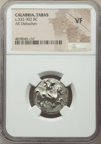 Ancients: CALABRIA. Tarentum. Ca. 332-302 BC. AR stater or didrachm (21mm, 5h). NGC VF