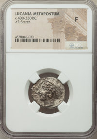 Ancients: LUCANIA. Metapontum Ca. 400-340 BC. AR stater (21mm, 12h). NGC Fine