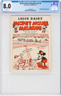 Mickey Mouse Magazine Dairy Giveaway V2#9 (Walt Disney Productions, 1935) CGC VF 8.0 White pages