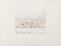 Henry Moore (1898-1986) Reclining figures man and woman I, 1975 Etching in colors on wove paper 1