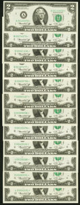 Small Size:Federal Reserve Notes, Complete District Set Fr. 1935-A*-L* $2 1976 Federal Reserve Star Notes. Twelve Examples. Choice Crisp Uncirculated.. ... (Total: 12 notes)