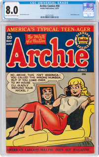 Archie Comics #50 (Archie, 1951) CGC VF 8.0 Light tan to off-white pages