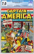 Golden Age (1938-1955):Superhero, Captain America Comics #1 (Timely, 1941) CGC FN/VF 7.0 Off-white to white pages....