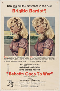 """Babette Goes to War (Columbia, 1960). Folded, Very Fine-. One Sheet (27"""" X 41""""). Foreign"""