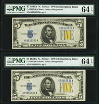 Fr. 2307 $5 1934A North Africa Silver Certificates. Two Consecutive Examples. PMG Choice Uncirculated 64 EPQ