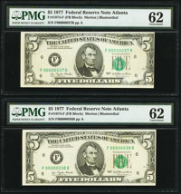 Low Serial Numbers 37 and 38 Fr. 1974-F $5 1977 Federal Reserve Notes. PMG Uncirculated 62