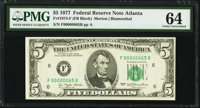 Low Serial Number 65 Fr. 1974-F $5 1977 Federal Reserve Note. PMG Choice Uncirculated 64