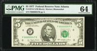Low Serial Number 47 Fr. 1974-F $5 1977 Federal Reserve Note. PMG Choice Uncirculated 64