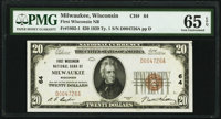 Milwaukee, WI - $20 1929 Ty. 1 First Wisconsin National Bank Ch. # 64 PMG Gem Uncirculated 65 EPQ