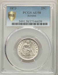 1873 25C Arrows AU58 PCGS. PCGS Population: (54/135 and 0/5+). NGC Census: (48/119 and 0/2+). CDN: $625 Whsle. Bid for N...