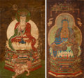 Paintings, Chinese Buddhist School, Ming Dynasty. An Assembled Pair of Chinese Paintings Depicting Bodhisattva Guanyin and Bodhis... (Total: 2 Items)