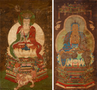 Chinese Buddhist School, Ming Dynasty An Assembled Pair of Chinese Paintings Depicting Bodhisattva Guanyin