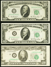 Misaligned Back Printing Fr. 2011-B $10 1950A Federal Reserve Notes. Two Examples. Very Fine or Better; Misaligned Face...
