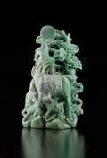 Carvings, A Large Chinese Carved Jadeite Group of Rams. 6-3/4 x 4-1/4 x 3 inches (17.1 x 10.8 x 7.6 cm) (excluding stand). ...