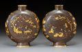 Metalwork, A Pair of Japanese Bronze and Mixed Metal Inlay Moon Flasks, Meiji Period, late 19th century . Marks: Five-character Kyoto K... (Total: 2 Items)