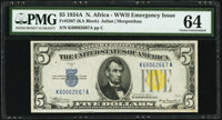 Fr. 2307 $5 1934A North Africa Silver Certificate. PMG Choice Uncirculated 64