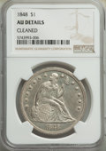 1848 $1 -- Cleaned -- NGC Details. AU. Mintage 15,000. ...(PCGS# 6935)