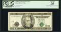 Error Notes:Shifted Third Printing, Partial Misalignment of Overprint. Fr. 2084-L $20 1996 Federal Reserve Note. PCGS Very Fine 20.. ...