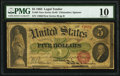 Fr. 63 $5 1863 Legal Tender PMG Very Good 10