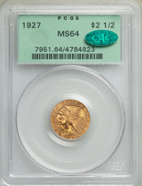 1927 $2 1/2 MS64 PCGS. CAC. PCGS Population: (2249/563). NGC Census: (2628/443). CDN: $540 Whsle. Bid for NGC/PCGS MS64...