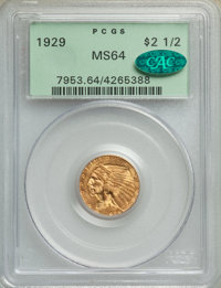 1929 $2 1/2 MS64 PCGS. CAC. PCGS Population: (2057/229). NGC Census: (2826/288). CDN: $540 Whsle. Bid for NGC/PCGS MS64...