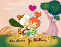 """Animation Art:Limited Edition Cel, The Flintstones """"First Kiss"""" Pebbles and Bamm-Bamm Limited Edition Cel AP 9/20 (Hanna-Barbera, 1989)...."""