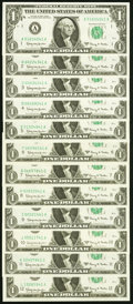 """Small Size:Federal Reserve Notes, Complete District Set ending in """"41"""" Fr. 1901-A-L $1 1963A Federal Reserve Notes Choice Crisp Uncirculated or Better.. ... (Total: 12 notes)"""