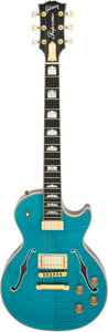 Musical Instruments:Electric Guitars, Rick Springfield's 2014 Gibson Les Paul Supreme Turquoise Semi-Hollow Body Electric Guitar, Serial # 140027611....