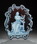 Glass, George Woodall for Thomas Webb Cameo Glass Plaque: Music, circa 1890. Signed: GEO. WOODALL...